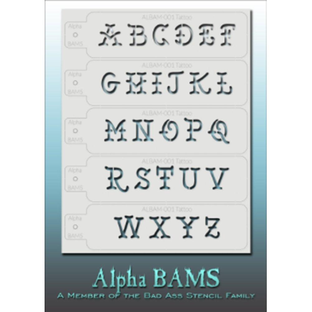 Amazon com: Bad Ass Tattoo Alpha Stencil - ALBAM001: Beauty