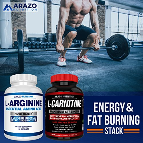 Premium L Arginine - 1340mg Nitric Oxide Booster with L-Citrulline & Essential Amino Acids for Heart and Muscle Gain | NO Boost Supplement for Endurance and Energy | 60 Capsules by Arazo Nutrition (Image #5)