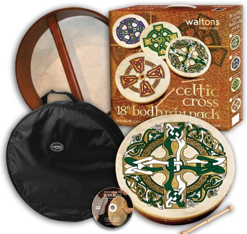 18″ Waltons Gaelic Cross Design Irish Bodhrán Pack