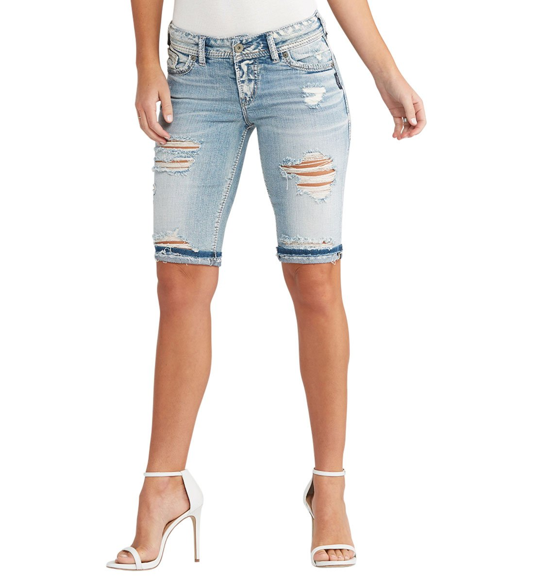 Silver Jeans Women's Co Suki Curvy Fit Mid Rise Bermuda Shorts, Light Destroyed Wash, 30