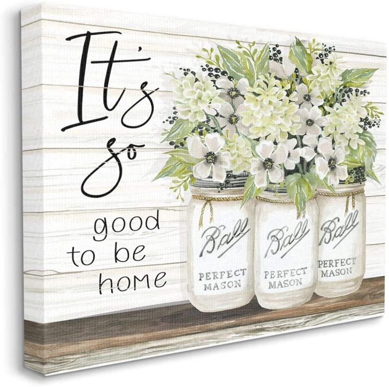 Stupell Industries So Good to Be Home Phrase Charming Floral Bouquet, Designed by Cindy Jacobs Wall Art, 24 x 30, Canvas