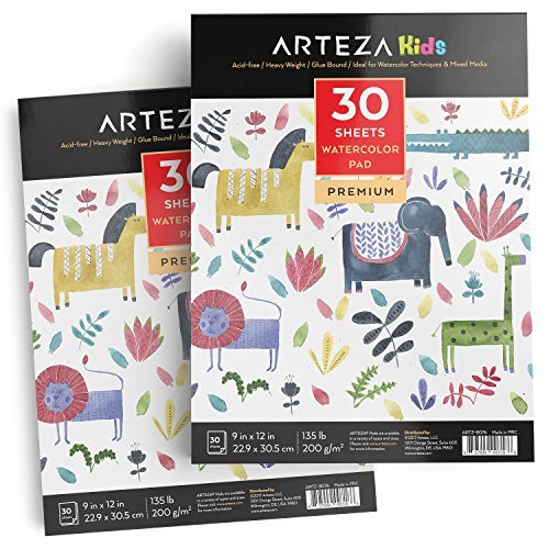 Arteza 9X12 Kids Watercolor Pad, Pack of 2, 60 Sheets (135lb/200gsm), Glue Bound Watercolor Paper, 30 Sheets Each, Durable Acid Free Watercolor Paper, Ideal for Watercolor Techniques and Mixed Media