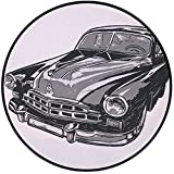 Printing Round Rug,Cars,Hand Drawn Vintage Vehicle with Detailed Front Part Hood Lamps Rear View Mirror Mat Non-Slip Soft Entrance Mat Door Floor Rug Area Rug For Chair Living Room,Grey Blue Grey