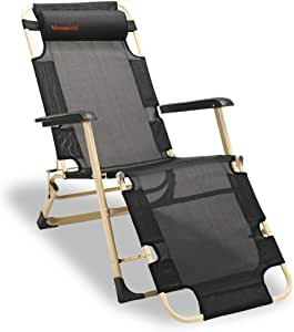Merstoclo Zero Gravity Recliner Chair,Teslin Fabric Long Chair, with a XL Comfortable Cotton Pad, Summer and Winter Garden Chair Adjustable Patio Lounge Chair Black Color