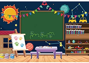 6x4FT Vinyl Photography Background Welcome to Kindergarten Backdrop ABC Letters Blackboard Watercolor Pen Paper Airplane Globe Back to School Themed Party Backdrops Banner