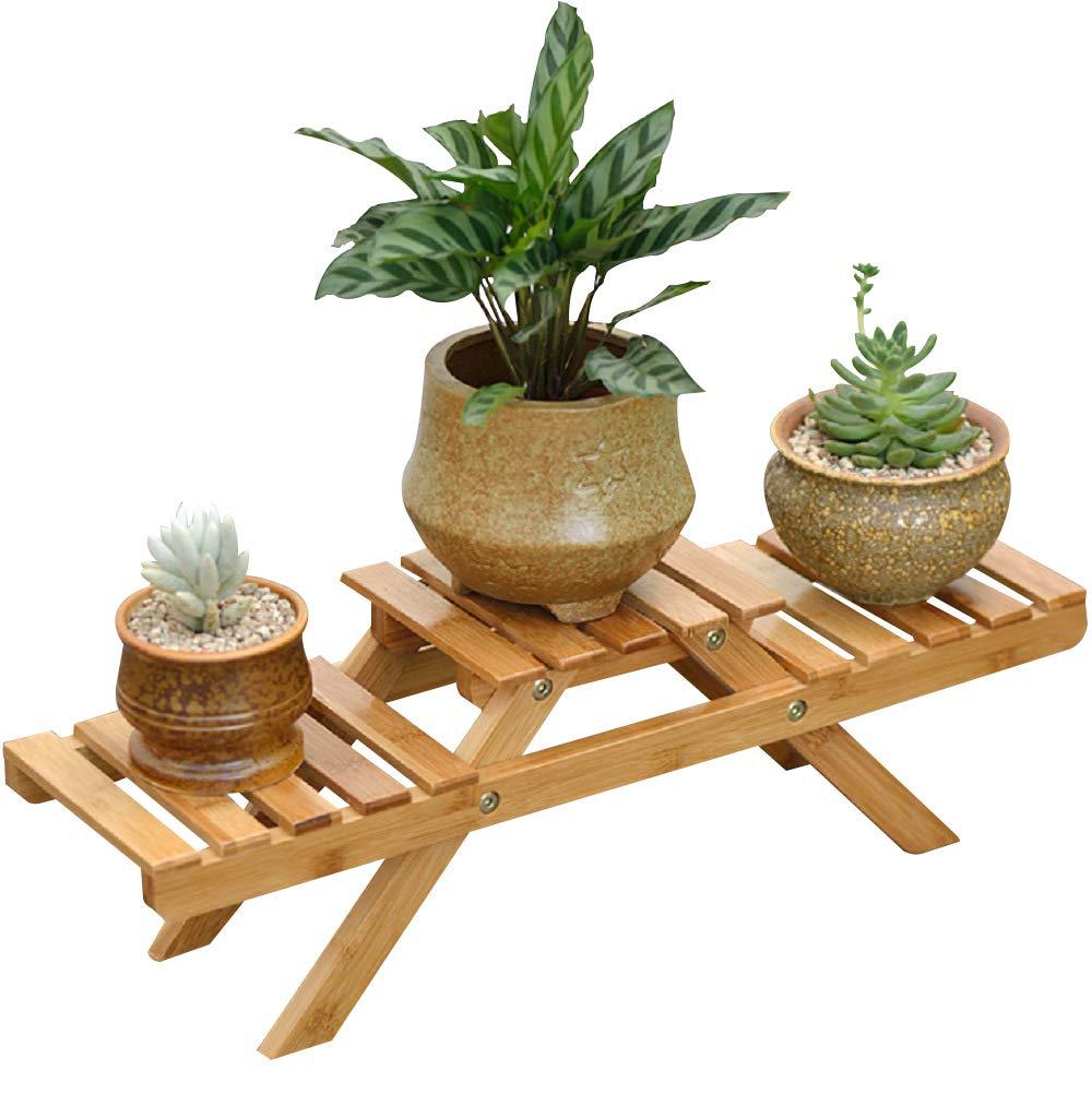 Suncaya Garden Bamboo Flower Pot Display Shelf Rack, Flower Planter Shelf With 2 Tiers, Flower Pot Stand for Indoor Outdoor Home Office Patio Balcony, (Product Including Flower Shelf Rack Only), SG-HP