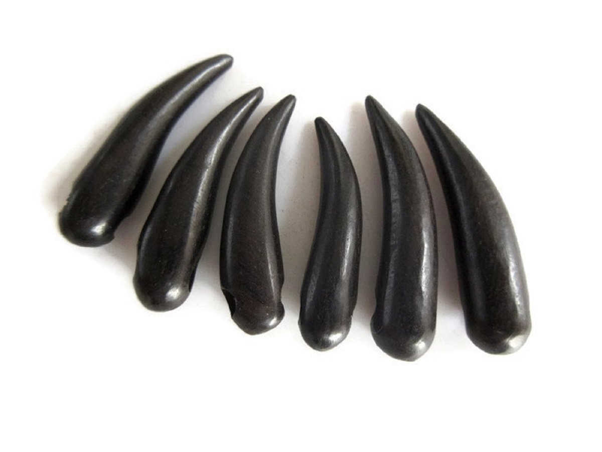 100 Pieces Horn Shaped Hand Carved Natural Ebony Wood Beads, Smooth Horn Wooden Bead Pendant, GDS1045/12