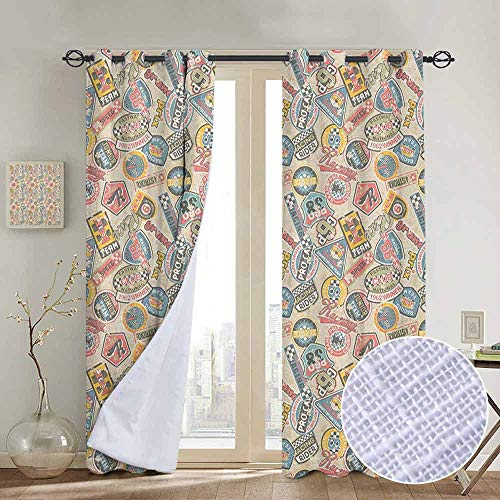 NUOMANAN Bedroom Curtains Grunge,Racing Teams with Colorful Logos Excitement Grand Prix Driving and Riding Themes, Multicolor,Thermal Insulated Room Darkening Window Shade 120