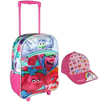 Trolls Mochila Trolley Escolar 41cm Asas y Ruedas mas Gorra Premium de Regalo- Trolls Poppy con Carro: Amazon.es: Equipaje