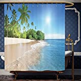 Best Sunny Fashion Cat Trees - Wanranhome Custom-made shower curtain Ocean Decor Tropical Palm Review