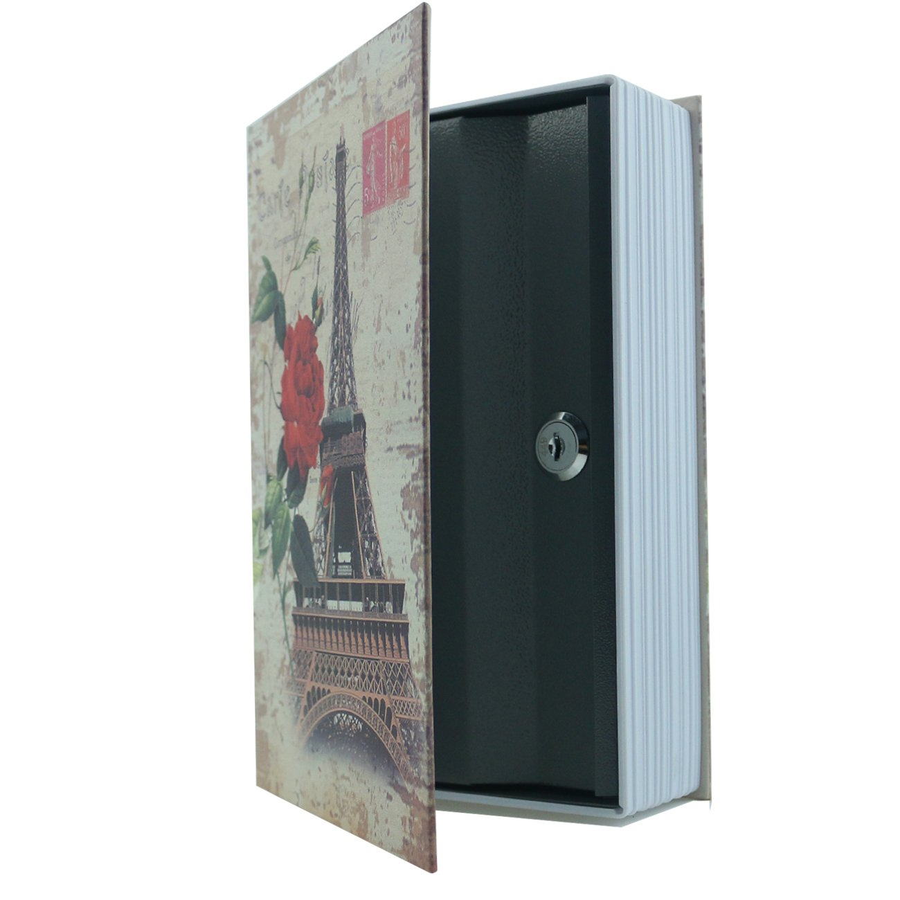 Ogrmar 9.4''X6.1''X2.2'' Book Diversion Hidden Book Safe With Strong Metal Case inside and Key Lock (Safe Book -Eiffel Tower Pattern)