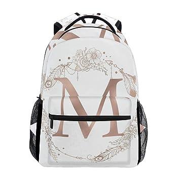 Amazon.com: Mochila con diseño de letra M con texto en ...