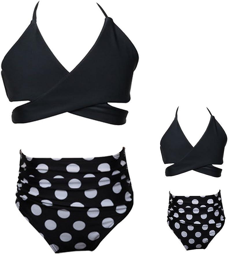 Toddler Baby Girls Bikini Set Family Matching Mummy and Me Swimsuit Swimwear Women-L, White Balck
