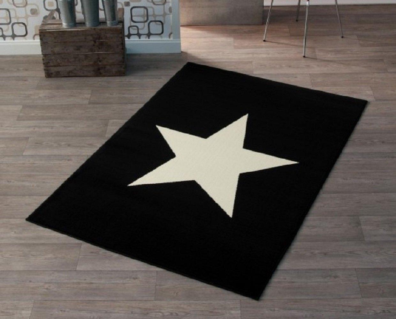 Hochwertiger Teppich Sternteppich / Teppich / Stern Teppich / hochwertiger Jugendteppich / Kinderteppich / Wohnzimmerteppich / strapazierfähiger schöner Wohnzimmerteppich Modell Stern schwarz / schwarzer Teppich / Dieser wunderschöne Teppic
