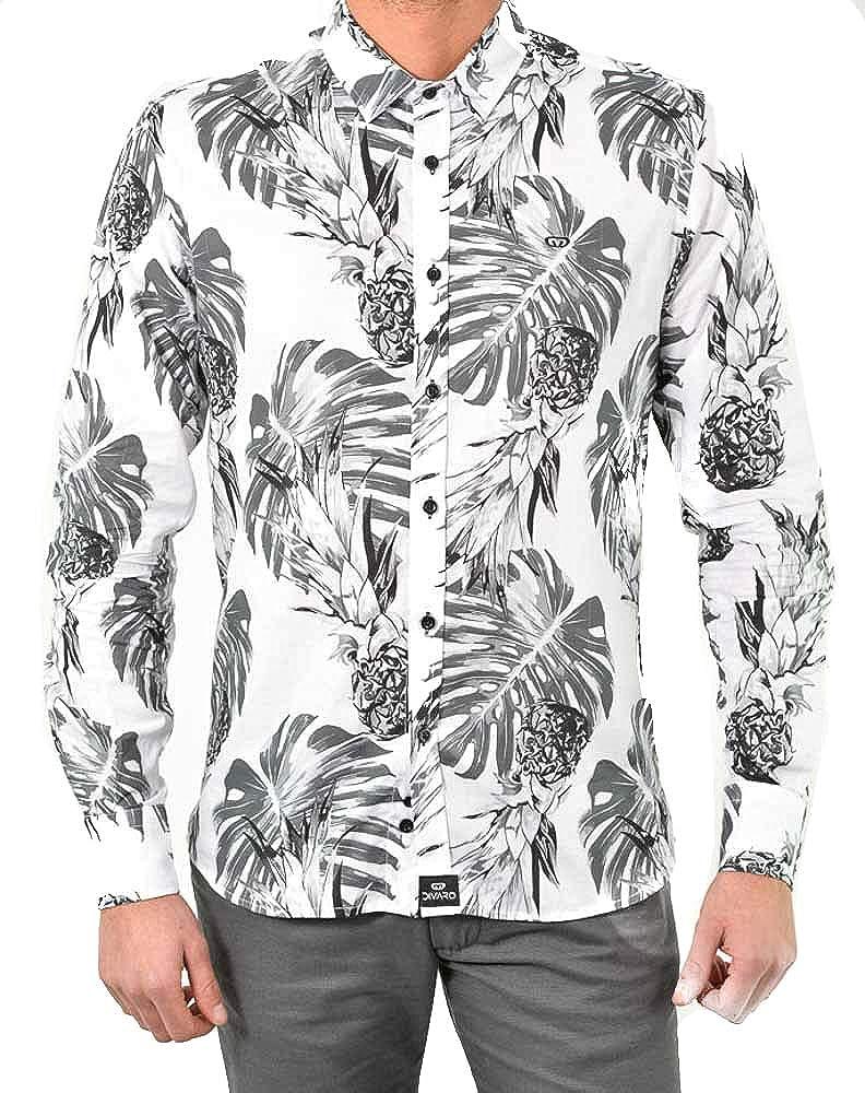 DIVARO - Camisa Estampado PIÑAS Manga Larga Color Blanco - para Hombre: Amazon.es: Ropa y accesorios