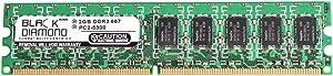 2GB RAM Memory for Dell PowerEdge 830, 850, 840, 860, R200 Black Diamond Memory Module DDR2 ECC UDIMM 240pin PC2-5300 667MHz Upgrade