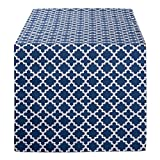 DII Lattice Cotton Table Runner for Dining Room, Foyer Table, Summer Parties and Everyday Use - 14x108, Nautical Blue and White