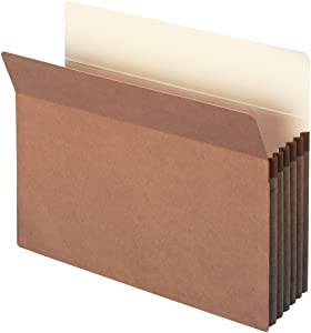"Smead File Pocket, Straight-Cut Tab, 5-1/4"" Expansion, Letter Size, Redrope, 50 per Carton (73810)"
