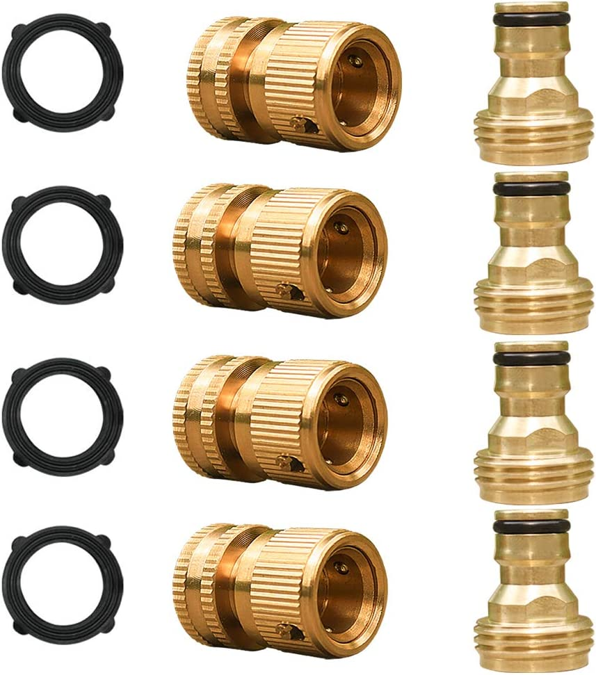 SANCEON Garden Hose Quick Connector, Solid Brass Water Hose Fitting, Easy Connect Adapter Set, Male and Female 3/4 inch GHT(4 Set)
