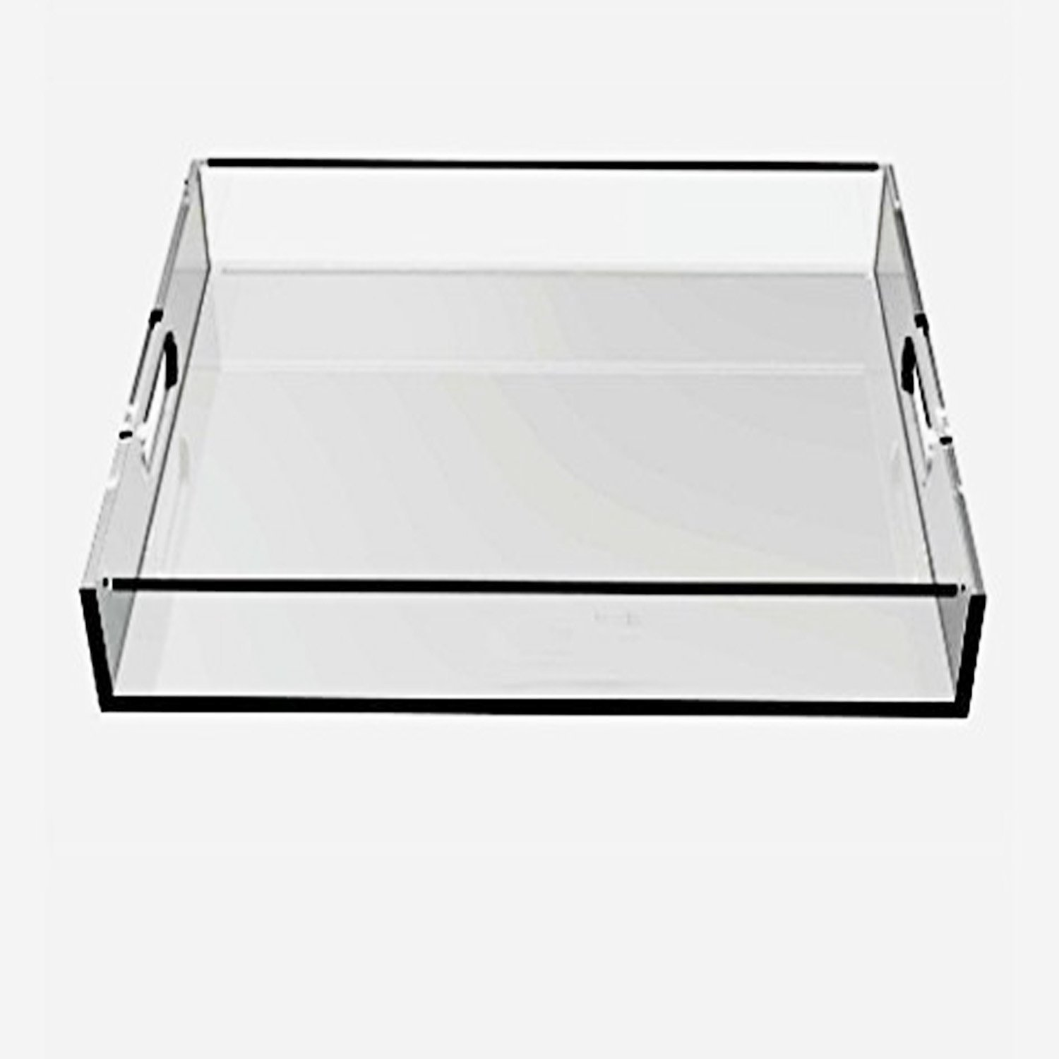 A4 Heavy-Duty Clear Handled Acrylic Serving Tray,Lucite Fruit Trays with Handler for Bar,Hotel,Restaurant,Cafe (W8.26xL11.7''xH1.5''))