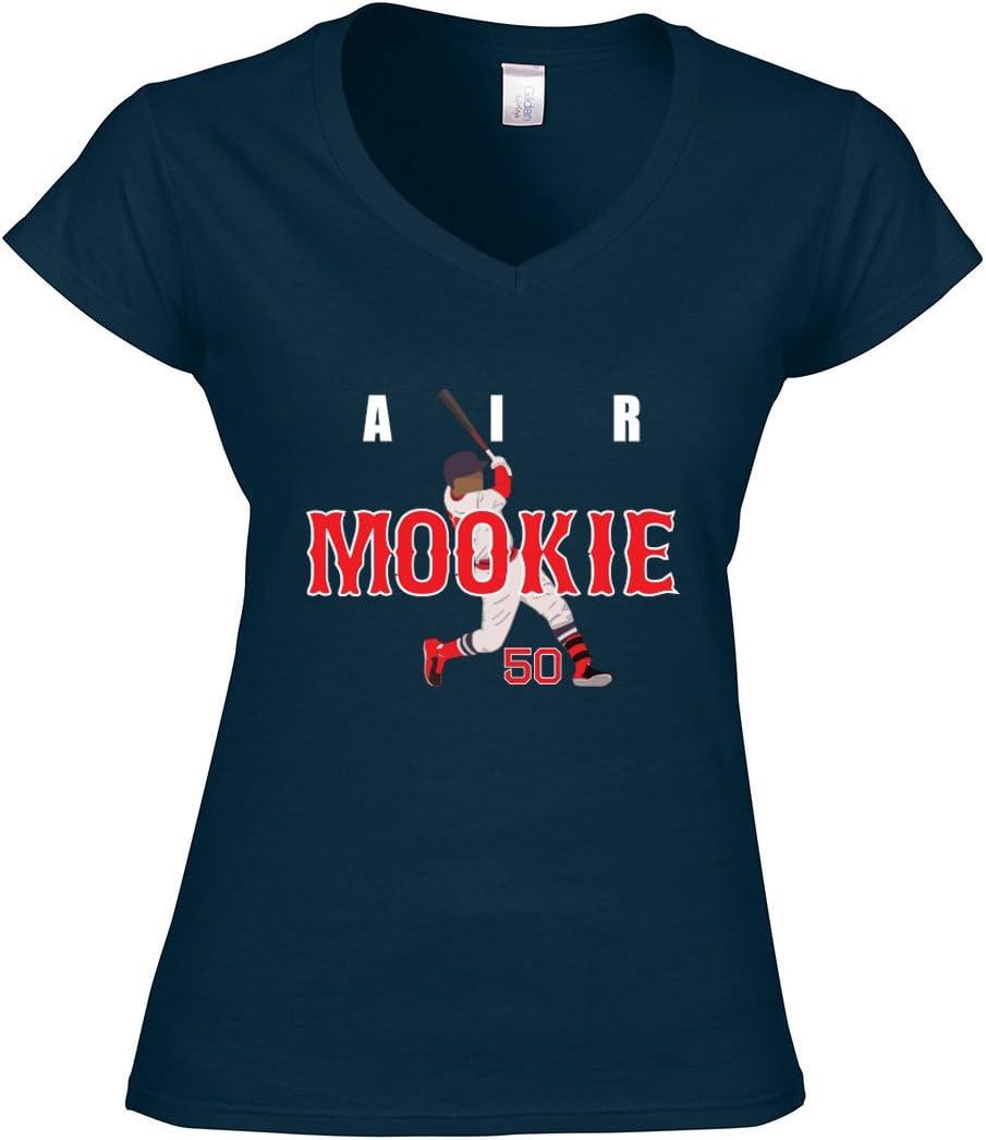 "Silo Shirts NAVY Mookie Betts Boston ""AIR HR"" LADIES V-NECK"