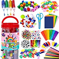 FunzBo Arts and Crafts Supplies Jar for Kids - Craft Art Supply Kit for Toddlers Age 4 5 6 7 8 9 - All in One D.I.Y. Crafting Collage Arts Set for Kids