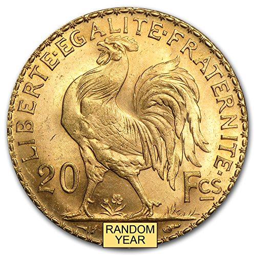 1899 FR - 1914 France Gold 20 Francs Rooster BU Gold Brilliant Uncirculated - Gold 20 Francs Rooster Coin