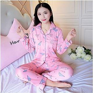 HAOLIEQUAN Revers Pyjama À Manches Longues Ensemble pour Les Femmes En Coton Automne Dame Belle Maison Porter des Femmes Douces vêtements De Nuit Doux Costume