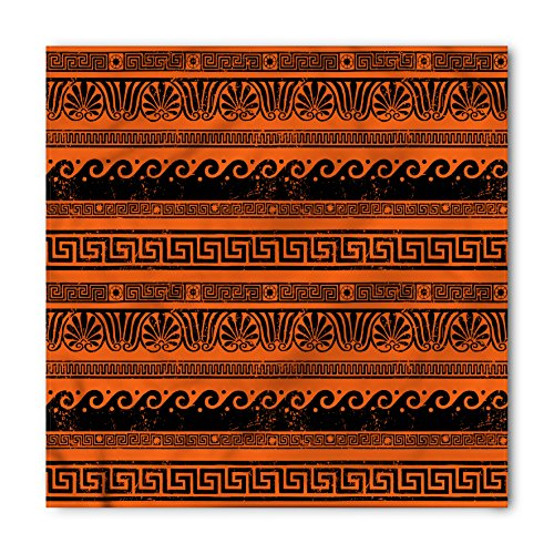 Ambesonne Unisex Bandana, Toga Party Old Border Ornaments, Orange Black ()