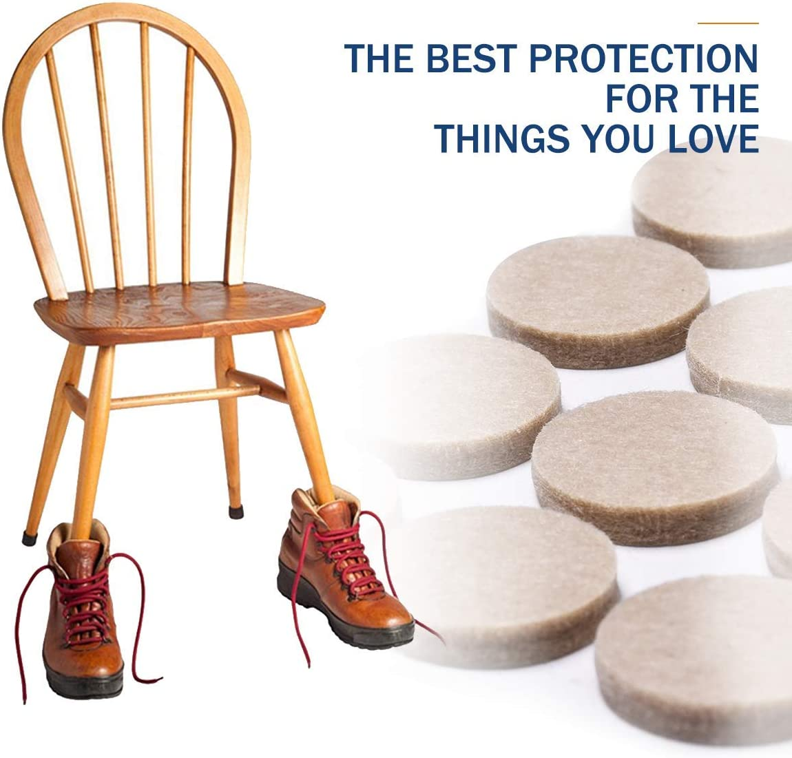 Protect Your Hardwood /& Laminate Flooring Premium Chair Felts Pads for Furniture Feet Wood Floors Furniture Pads Felt Pads for Furniture on Hardwood Floors Value Pack Chair Leg Floor Protectors