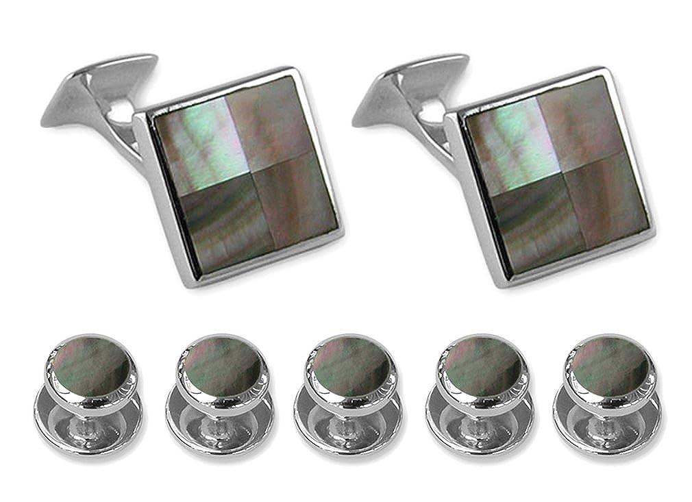 Sterling silver black shell square Cufflinks Shirt Dress Studs Gift Set