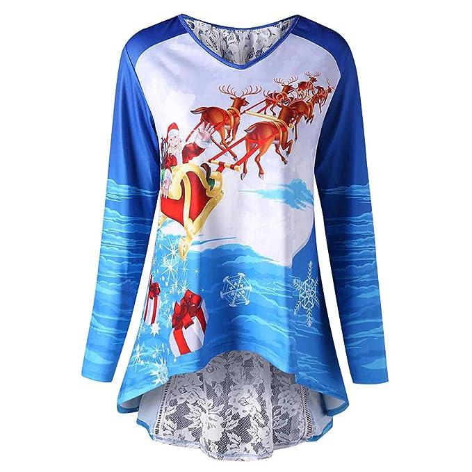 Vectry Rebajas Sudadera De Mujer Sudadera De Navidad Camiseta con Manga Larga Sudadera Estampado Navideño Sudadera con Patrón De Alce Camiseta para ...