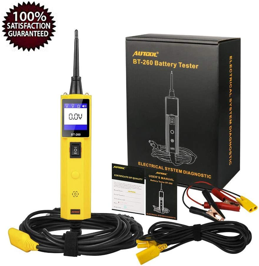 Car Electrical Diagnostic Tool 12V//24V Circuit System Tester DC//AC Voltage//Polarity Locator with LED Flashlight AUTOOL Automative Circuit Tester Power Probe Kit