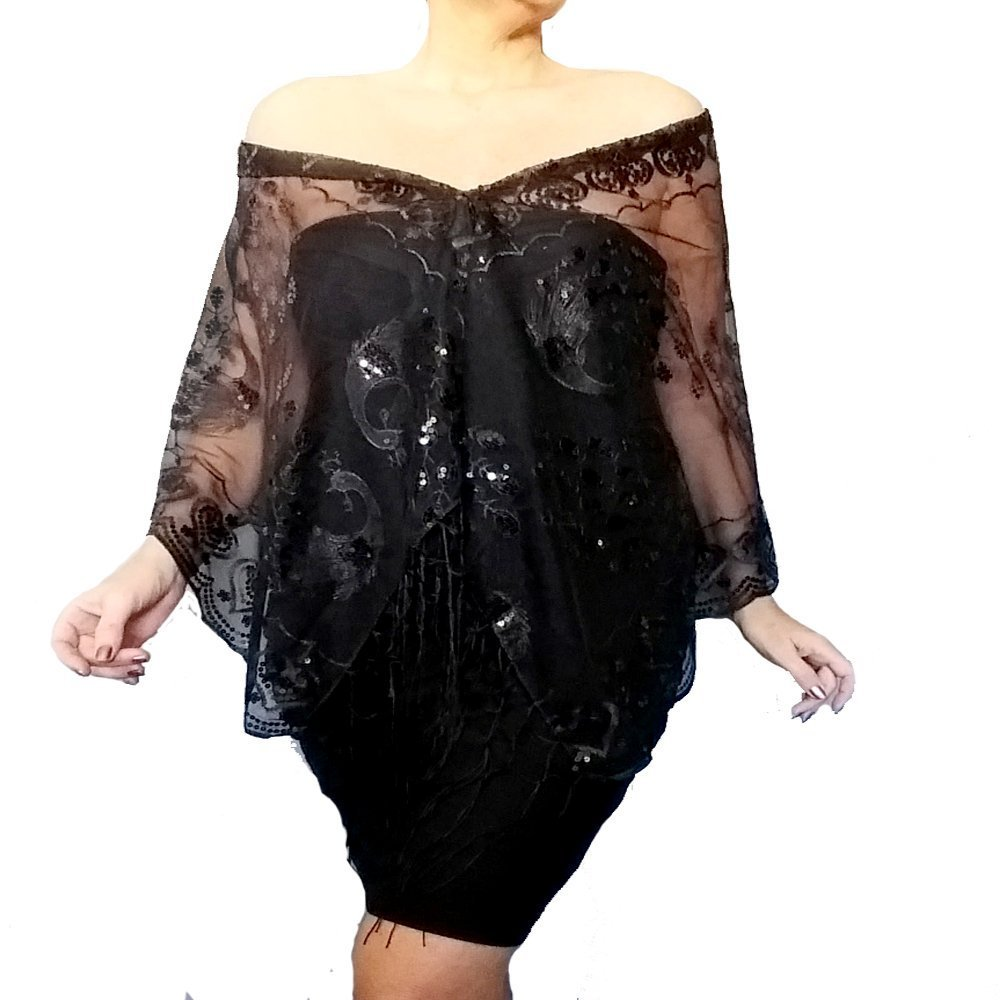 Plus Size Black Sequin Shawl Sheer Dress Wrap Fancy Evening Wear by ZiiCi