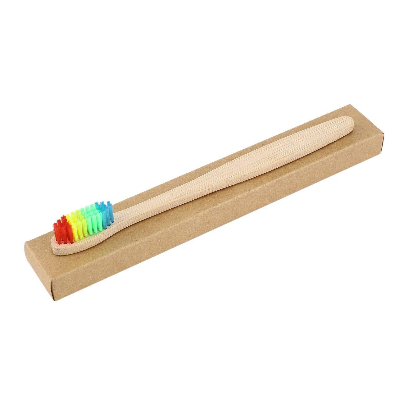 poign/ée en Bambou Brosse /à Dents Environnement en Bois Brosse /à Dents en Bambou Arc-en-Ciel Oral Care Poils Doux Unisexe WOSOSYEYO Cheveux color/és