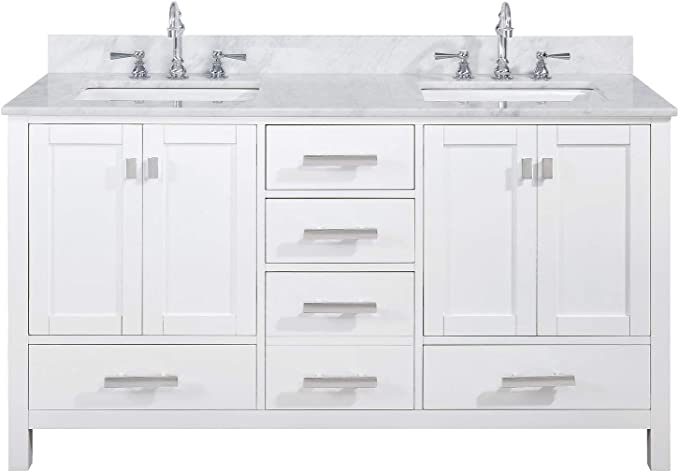 Luca Kitchen Bath Lc60pww Tuscan 60 Double Bathroom Vanity Set In Pure White With Carrara Marble Top And Sink