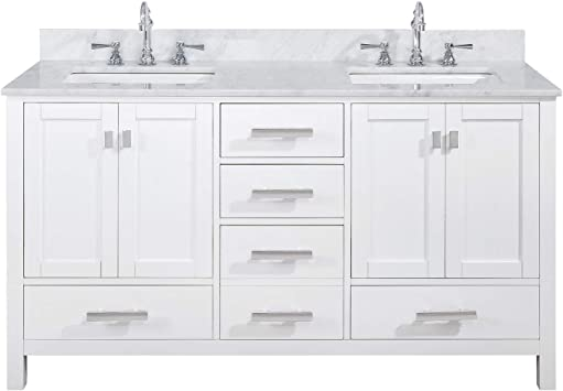 Luca Kitchen Bath Lc60pww Tuscan 60 Double Bathroom Vanity Set In Pure White With Carrara Marble Top And Sink Amazon Com