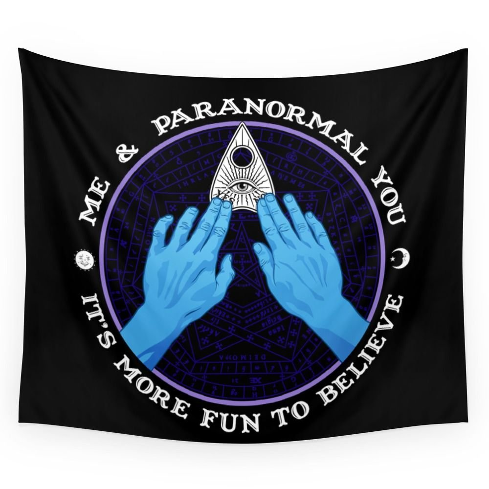 Society6 Me & Paranormal You - James Roper Design - Ouija (white Lettering) Wall Tapestry Large: 88'' x 104''
