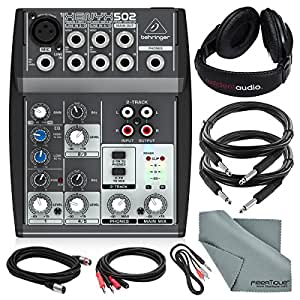 behringer xenyx 502 5 channel audio mixer and deluxe bundle w stereo headphones 5x. Black Bedroom Furniture Sets. Home Design Ideas