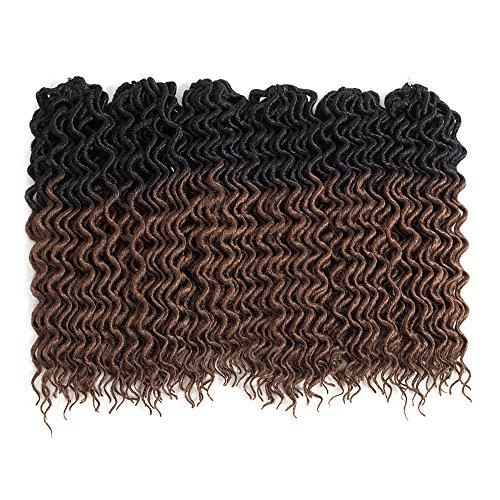 (6Packs) 22inch Curly Faux Locs Soft Hair Twist Braids Crochet Braiding Hair Braids Mambo Hair Extension 24Roots/Pack (22inch, Ombre 1B/30) by Mirra's Mirror