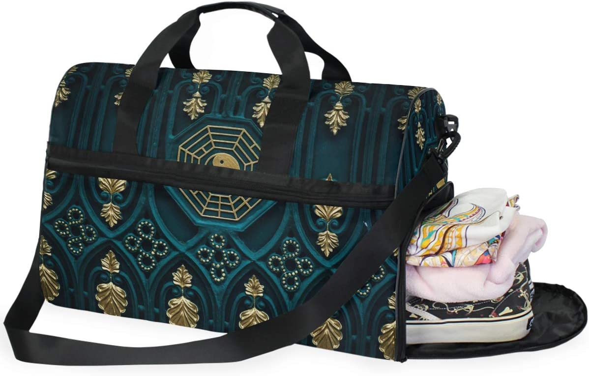 FANTAZIO Abstract Chinese Yin Yang Sports Duffle Bag Gym Bag Travel Duffel with Adjustable Strap