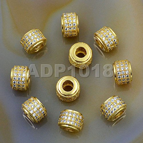 AD Beads Zircon Pave Rhinestones Rondelle Or Hexagon Bracelet Connector Spacer Beads (5 Pcs Clear on Gold 3 Row Rondelle (6x7mm)) ()