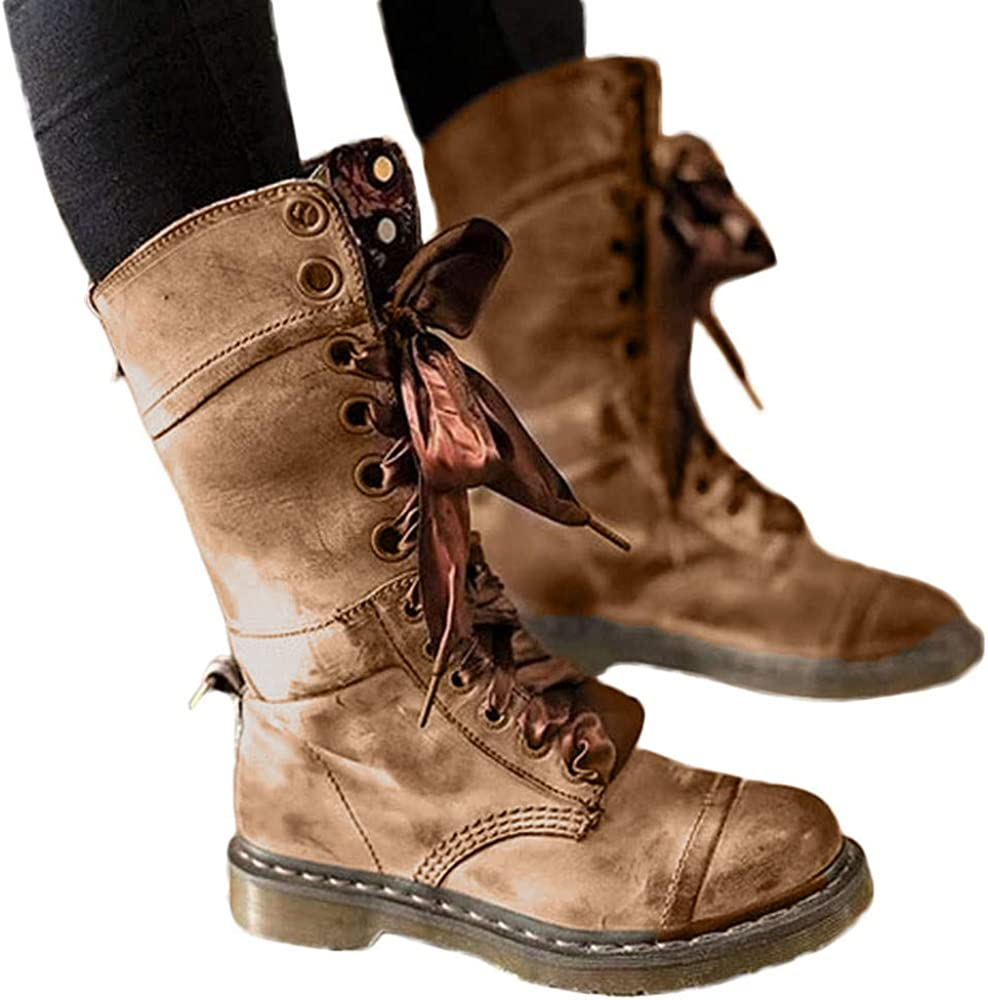 WANQUIY Womens Retro Shoes Leather Cowboy Military Motorcycle Booties Lace-Up Hiking Mid Calf Boot