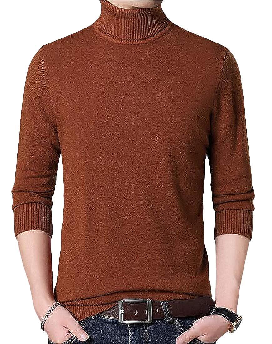 goldenharvest GH Mens Solid Color Juniors Turtle Neck Pullover Knit Jumper Sweaters