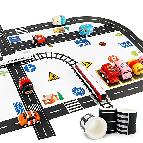Road Sticker Rolls, DIY Traffic Sign Train Track Model for Kids Gift, 59PCS