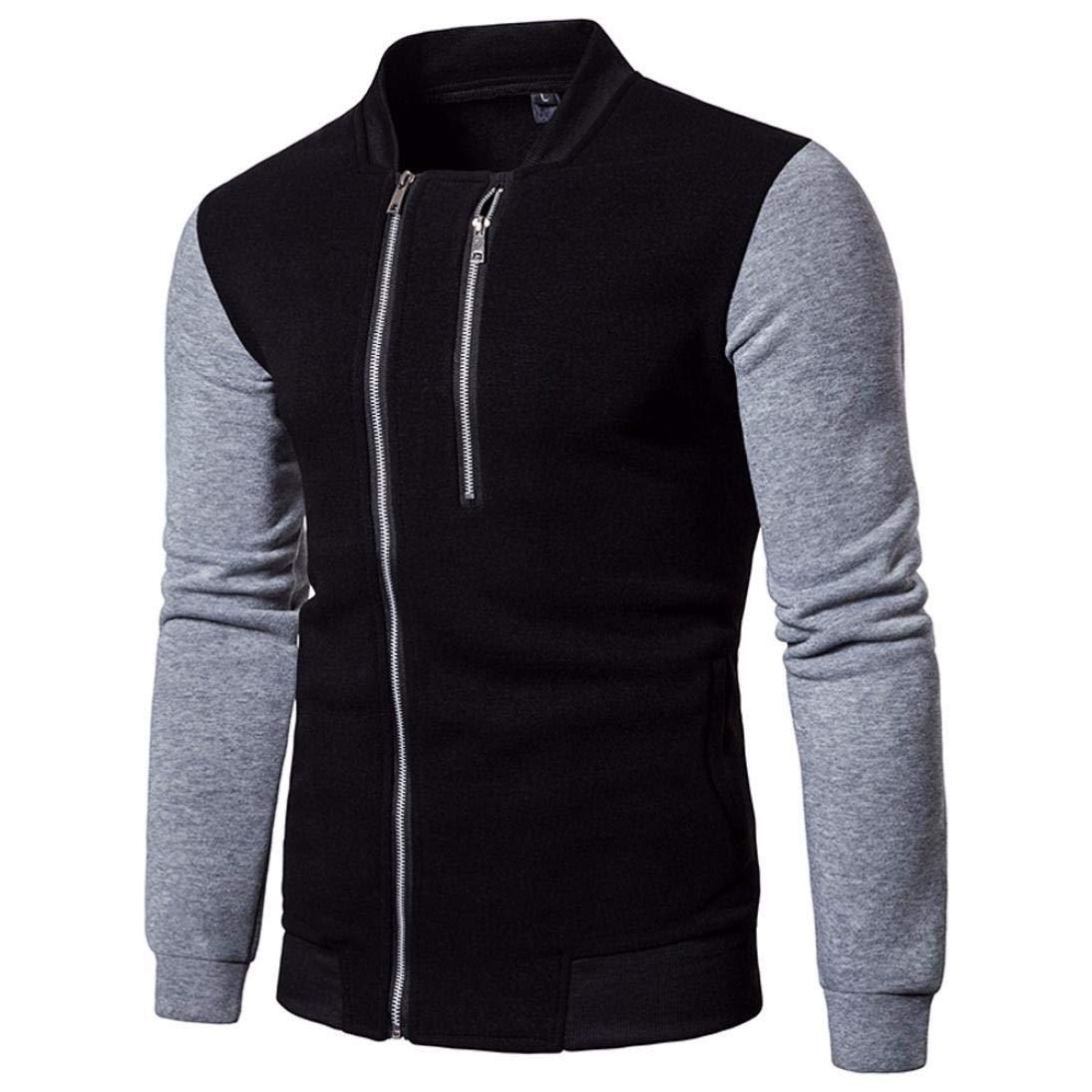Men's Fashion Long Sleeve Patchwork Zipper Sweatshirt Tops Bomber Jacket Coat Outwear