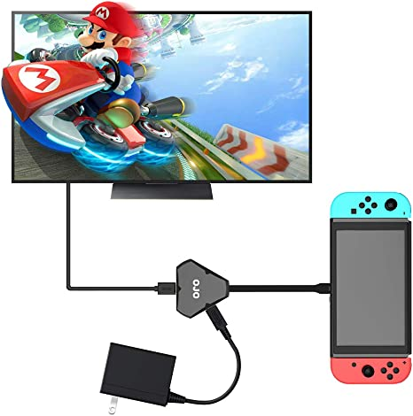 YesOJO Dongle - Base portátil para Nintendo Switch para Nintendo Switch, HDMI Type-C Hub adaptador USB-3.1 Hub HDMI salida de vídeo audio AV puerto de carga convertidor cable para Smartphone PC Tablet: