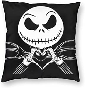 KASETER Nightmare Before Christmas Pillow Cover Halloween Pillow Case Square Polyester Throw Pillow Cover Home Decor for Bedroom/Sofa/Car 18x18 inch 05
