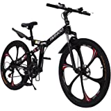 26 inch Adults Folding Bikes High-Carbon Steel Mountain Bike Outdoor Adventures Wasteland Exercise Road Bikes with 21 Speed D