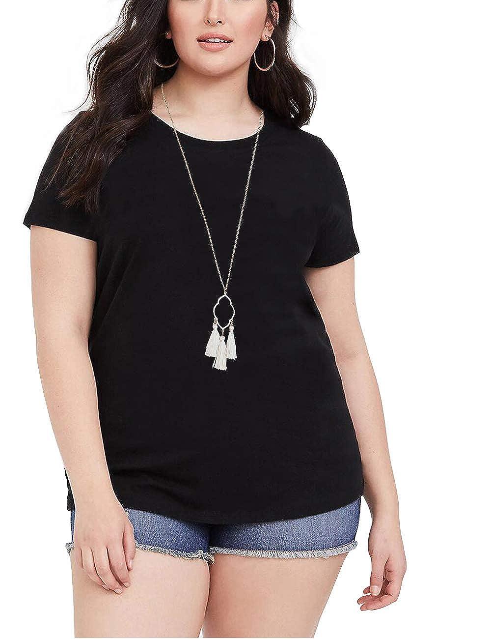 01black deqiang Women's Plus Size Shirts Summer Short Sleeves Comfy Casual Basic Tops Tee XL5XL